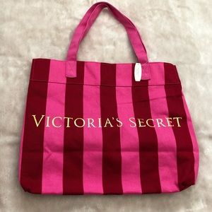 NWT Victorias Secret Pink Red Striped Tote Bag